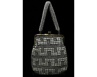 1960s Candy Bead Purse - 60s Faux Beaded Handbag - Charcoal Gray & White Plastic Bead-Dots Bag - Made in 60's Hong Kong - 45082