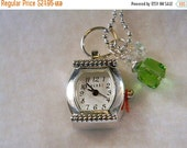 ON SALE Watch Pendant Necklace, Watch Pendant Charm, Green Charm, Birthstone
