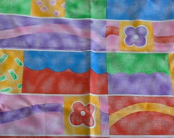 Colorful Juvenile Print Polyester Cotton Fabric 1 1/4 Yards X0519