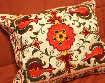 Silk embroidered suzani pillow. Accent pillow