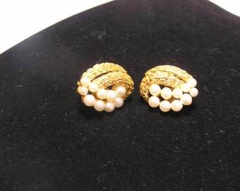 Crown Trifari pearls and gold wedding clip on earrings