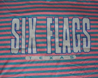 Vintage Six Flags Over Texas Roller Coaster amuement park bright stripe 80's T Shirt XL