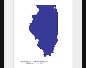 Northwestern University - Wildcats - Illinois Map - Print Poster - College State Map