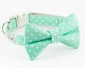 Mint Dot Bowtie Dog Collar