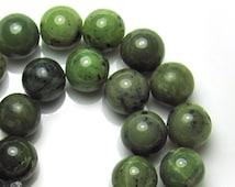 BC Jade 1/2 Strand, 8mm Round Gemstone Beads Canadian Jade, Nephrite,