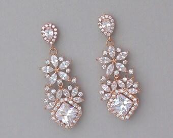 Rose Gold Chandelier Earrings, Rose Gold Bridal Earrings, Clip on Option, Crystal Earrings, Bridal Jewelry, LISA  2