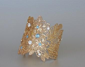 Gold Bridal Cuff, Blue Crystal Cuff, Gold Lace Cuff, Gold Arm Bracelet, Aquamarine Crystal Cuff MARINA