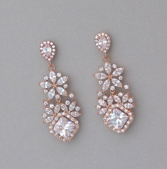 Rose Gold Chandelier Earrings Rose Gold Bridal Earrings Clip