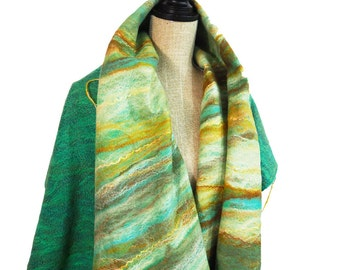 Wool Scarf Green Yellow Silk Scarf White Felted Scarf Brown Wool Shawl