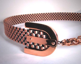 Antique Copper Belt by Renoir Matisse Company Vintage Mid Century 1950 Chain Closure Designer Fashion