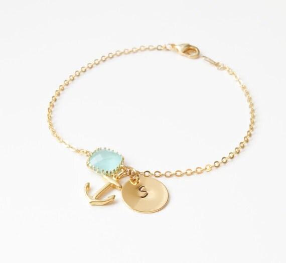 Birthstone & Initial Bracelet   Birthstone Bracelet   Initial Bracelet   Bridesmaids Bracelets   Beach Wedding Jewelry   Beach Wedding