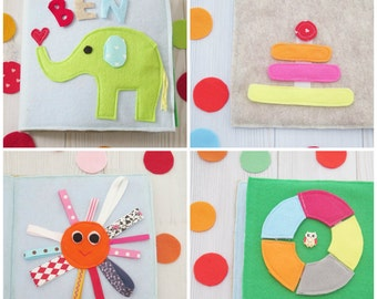 Quilt book  , felt book , baby personalized gifts , quiet book , baby's first book , activity pages