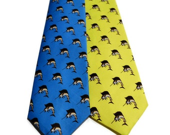 100% Organic Cotton Sateen Ties by Barry Beaux Featuring a Palmetto and Crescent, Sailfish and Mahi Mahi