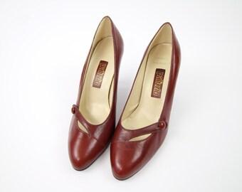 VINTAGE Brick Red Heels Leather Pumps Size 7