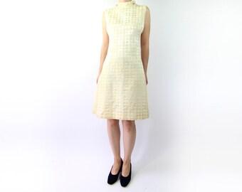 VINTAGE Gold Dress 1960s Brocade Sleeveless