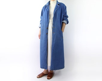 VINTAGE Denim Duster Jacket Long Blue Jean