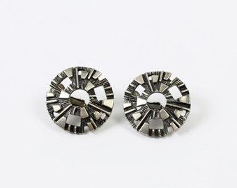 VINTAGE Mid Century Earrings Silver Metal Clip Ons
