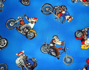 Motorcycle Fabric Hogs on Bikes Hogs on Hogs Fabric Novelty Fabric Sewing Fabric Quilting Fabric Craft Supply