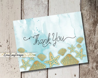 Digital Printable Ocean, Beach Themed Thank You Cards INSTANT DOWNLOAD