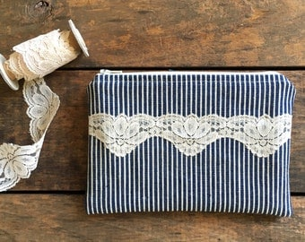 vintage lace zipper pouch, blue and cream ticking,blue navy tan,rustic, makeup bag, spring summer fall fashion, bridesmaids