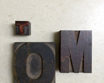 Three Vintage Letterpress Wooden Printers Blocks Spells TOM