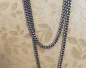 Vintage Retro Style Delicate solid brass Antique BRUSHED silver plated soldered 2mm FLAT curb  Chain footage chain 1 foot