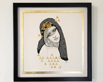 Lo. Original mixed media portrait drawing. 12 x 12. Ashley Hoey.