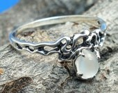 Moonstone Organic Swirl Pattern Ring, Hand Crafted Recycled Sterling Silver, June Birthstone