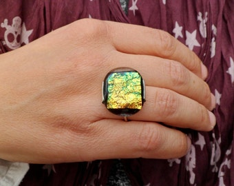 Golden Dichroic Glass Ring. Handmade Fused Glass Ring. Adjustable Ring. Sterling Silver And Dichroic Gass Ring.