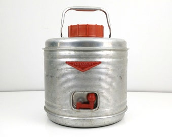 Vintage Featherflite aluminum cooler / Drink dispenser / Picnic thermos / Red Poloron travel cooler