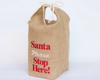 Santa Stop Here Hessian Burlap Door Stop -  Machine Embroidered - Father Christmas, Rustic, Grainsack