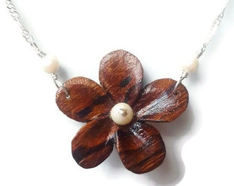 Zebrawood Flower & Pearl Pendant Necklace - 18 Inches