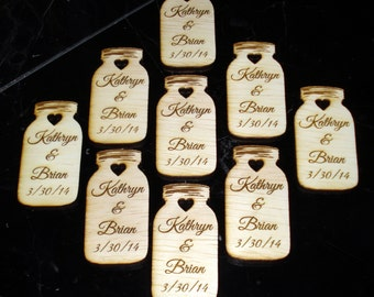 120 Mason Jar Wedding favors Personalized Wood Cut out