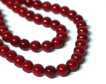 8mm riverstone beads, beet red round gemstone, Full & Half Strands available  (1179S)