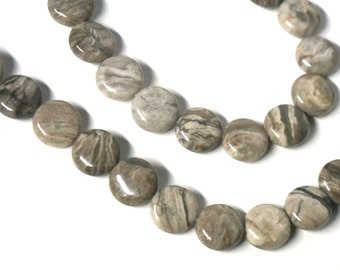 Silver Leaf Jasper beads, 12mm coin natural gemstone, flat round, full & half strands available  (1136S)
