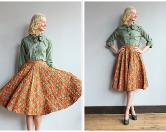 1950s Skirt // Pumpkin Fields Quilted Skirt // vintage 50s skirt