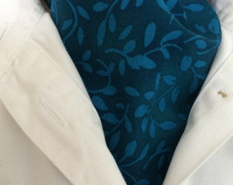 New Ascot Tie Cravat. Light foliage on a teal background. 100%  cotton