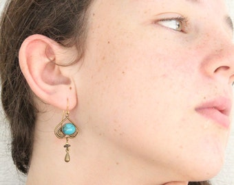 Vintage Turquoise & Bronze Dangle Earrings Bohemian Fashion Earty Flair
