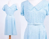 Vintage 1950s Blue Lace Belted Day Dress * Wiggle Rockabilly Vargas Pin Up * Size Medium * FREE SHIPPING