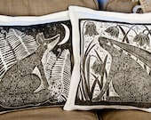 linocut,set of 2, cushion covers, hand printed, decorative pillow, Fox, Hare, black, grey,  home interior, white linen
