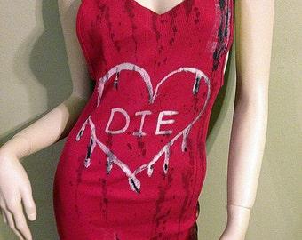 Red Die Heart Bleached Grunge Dress M/L
