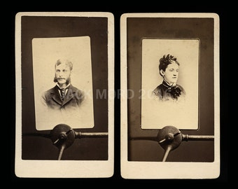 Unusual CDV Set Man & Woman on Photographer Clamp Stands by Dessaur New York