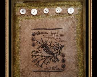 Sparrow Garden Journal-  Cross Stitch Pattern- Instant Download