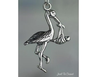 Sterling Silver Stork Charm Delivering Baby for New Mom 3D Solid .925