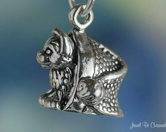Christmas Cat Charm Sterling Silver Kitten in Santa Hat Solid .925