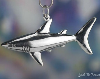 Large Sterling Silver Great White Shark Charm Sharks Ocean Solid .925