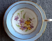 Tuscan Tea Cup and Saucer - Hand Painted Violets - Pale Blue Border with Gold Rim - Wedding Table Setting