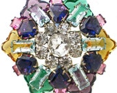 Vintage Glass Brooch Large with Multicolor Bright & Colorful Geometric Shapes in Jewel Tones on Silver Tone
