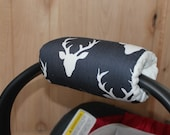 Car seat handle cover, carseat handle cover, Padded Handle Cover, Navy buck head- ShipsToday