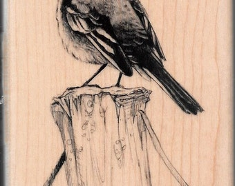 Bird on pier Stamp --   NEW  -- Wood Mounted Rubber Stamp --  Inkadinkado Brand --   (#1662)